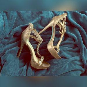 Authentic! Betsey Johnson Gold Platform Heel 10M